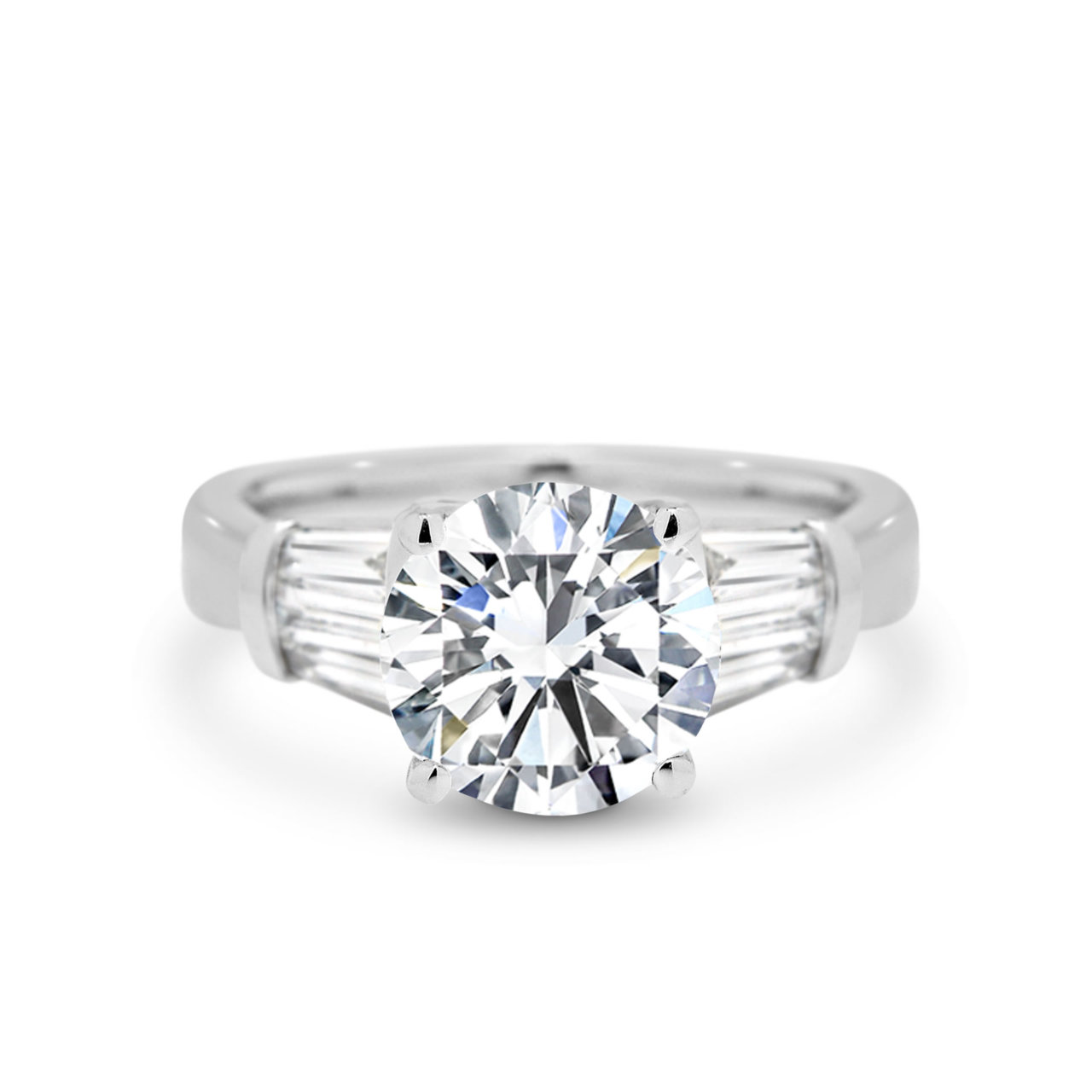 Round Brilliant Tapered Baguette Diamond Engagement Ring Jeff Einstein Jewellery